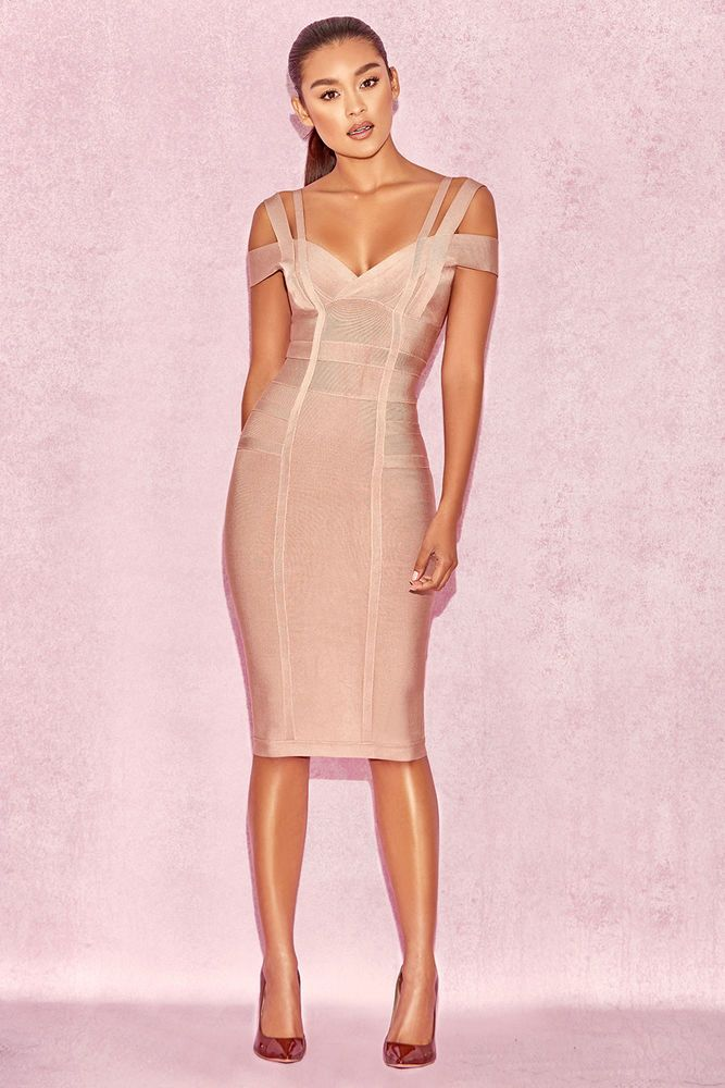 bd8fd47d9f3c HOUSE OF CB 'Mimi' Taupe Off Shoulder Bandage Dress S 8 / 10 MA 163  #fashion #clothing #shoes #accessories #womensclothing #dresses (ebay link)