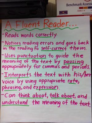 Anchor Chart for what a fluent reader is. I need to share this for those who believe fluency is just reading words fast. Fluency is NOT just cwpm!! #ugh