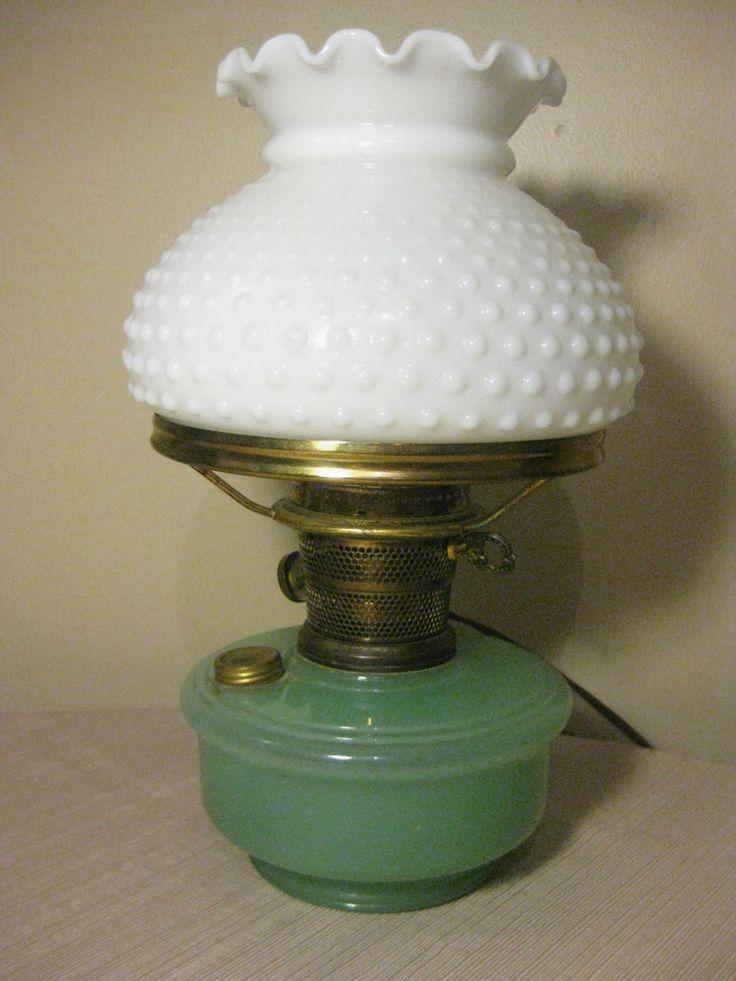 Vintage Aladdin Oil Lamp Green Moonstone & White Hobnail