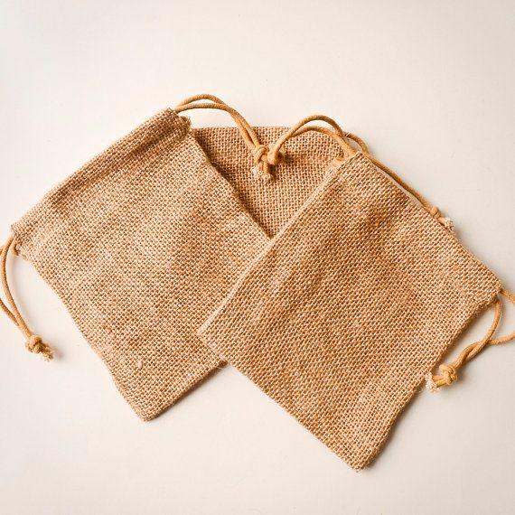 12 Burlap Bags 5x6, Jute, Drawstring Sack, Rustic Wedding Favor