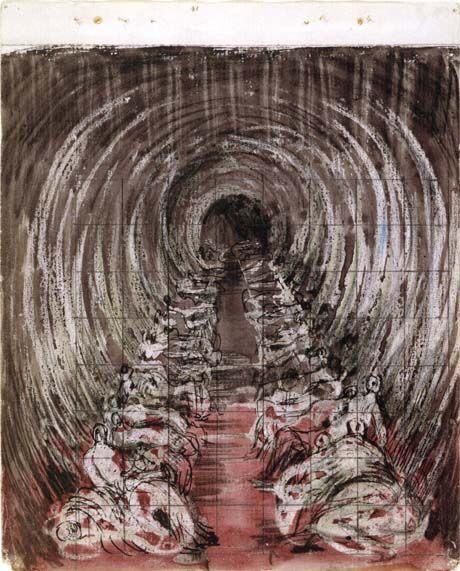 Ink and wax resist of London underground war scene
