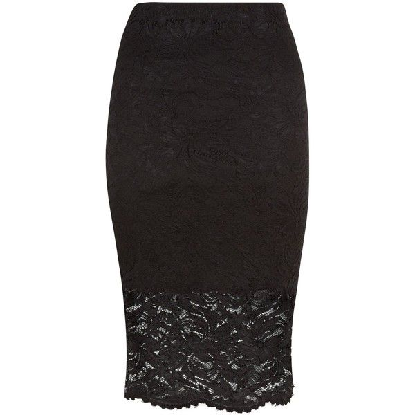 Black Lace Midi Pencil Skirt (£18) ❤ liked on Polyvore featuring skirts, knee length pencil skirt, mid-calf skirt, midi skirt, calf length pencil skirts and lacy skirt