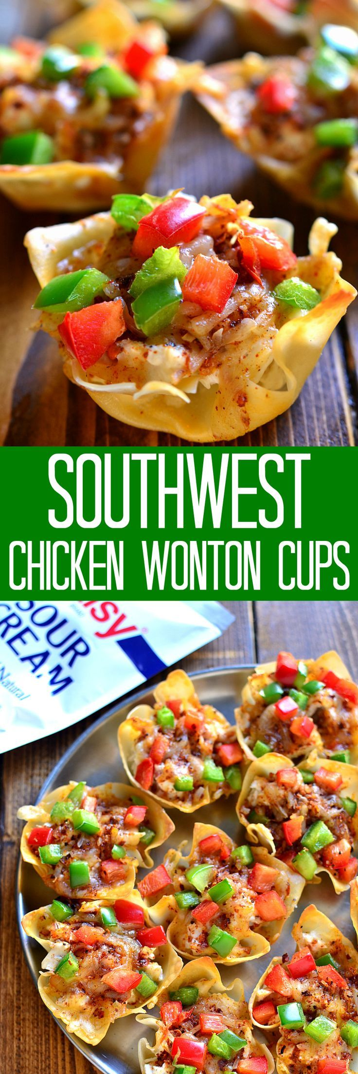 Southwest Chicken Wonton Cups are loaded with creamy chicken, cheese, and peppers and packed with delicious southwest flavor. The perfect holiday appetizer - sure to become a new family favorite! #dollopofdaisy #ad #sk