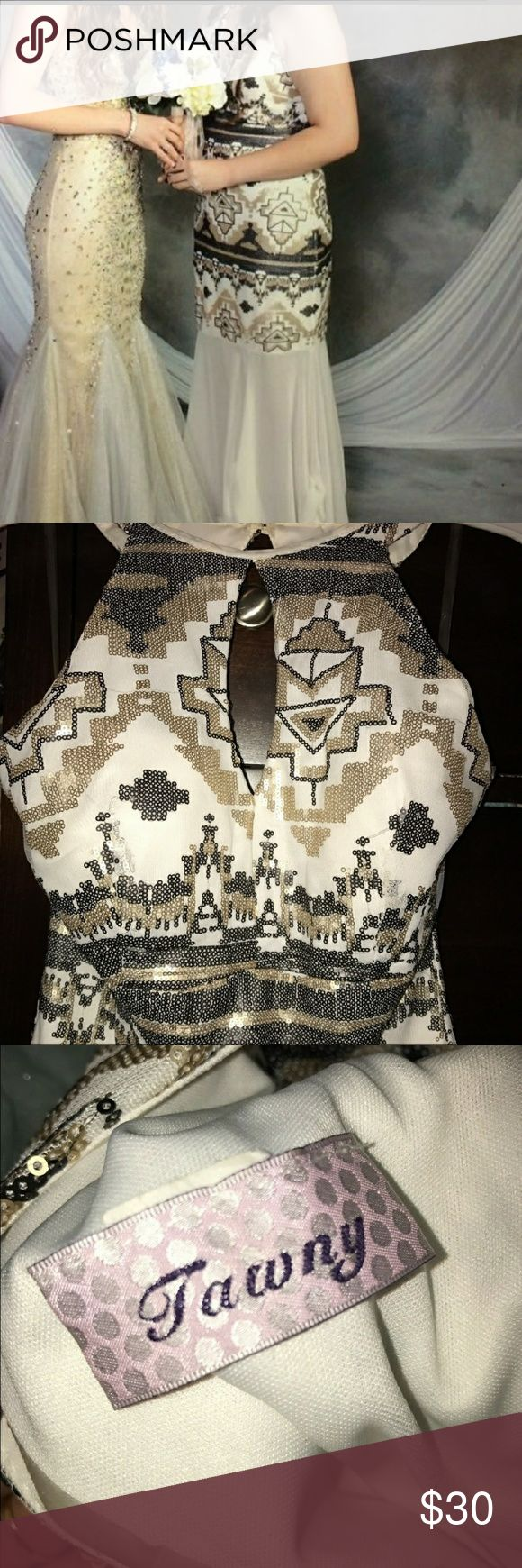 Aztec pattern prom dress Black white and gold sequin prom dress worn once.  No missing sequins, in excellent condition. tawny Dresses Prom