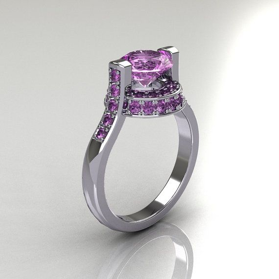 luxurious and stylish the new italian bridal white gold carat lilac amethyst wedding ring evokes absolute glamour and elegance - Amethyst Wedding Ring