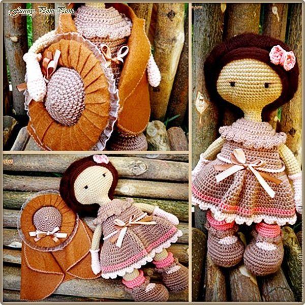 Вяжем куколку в винтажной шляпке в технике амигуруми - Ярмарка Мастеров - ручная…