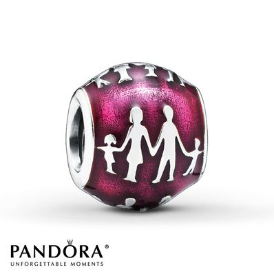 Holding hands, silhouettes of two parents and kids form repeating motifs against a bright pink enamel background in this sterling silver charm from the Pandora Autumn 2014 collection. Style # 791399EN62.