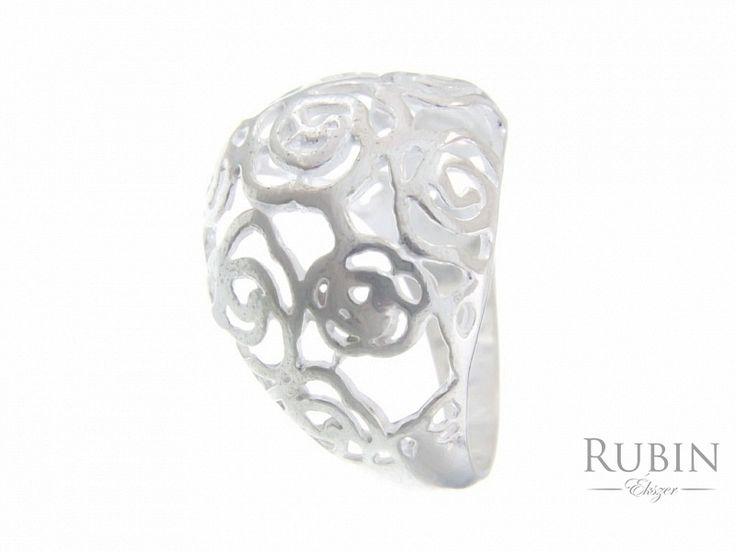 Rózsa motívumos ezüst gyűrű