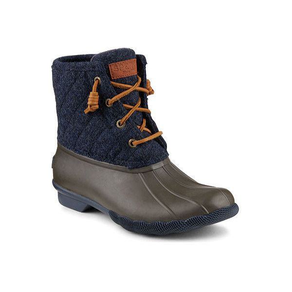 Women's Sperry Top-Sider Saltwater Duck Boot ($100) ❤ liked on Polyvore featuring shoes, boots, casual, winter boots, waterproof winter boots, black lace up boots, navy leather boots, black quilted boots and navy blue leather boots