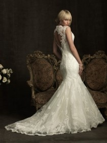 Elegant Lace Mermaid Wedding Dress ♥ Ivory Lace Open Back Gown by Allure Bridals