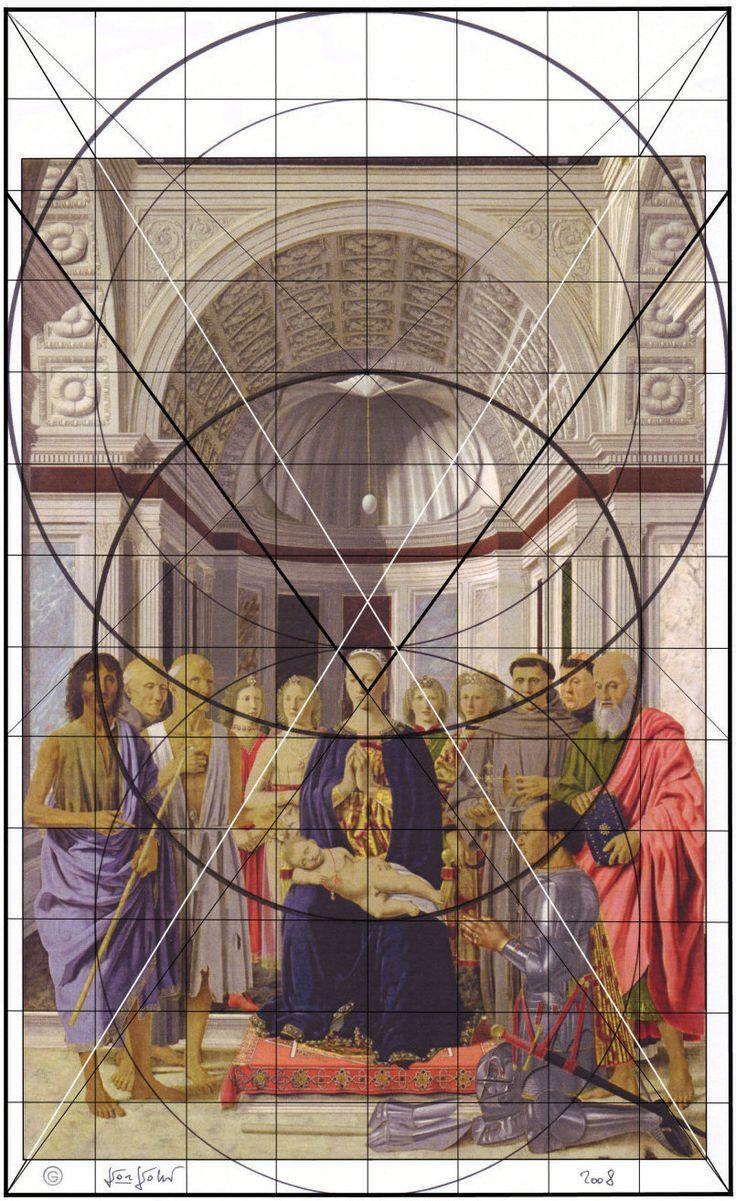 Piero della Francesca, Pala Montefeltro, costruzione prospettica, Pinacoteca di Brera. Milano