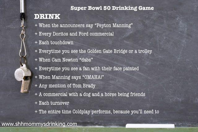 Super Bowl Drinking Game 2016 Peyton Manning and Cam Newton Football