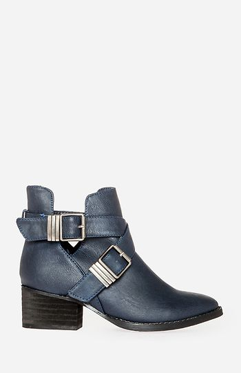 navy buckle boots