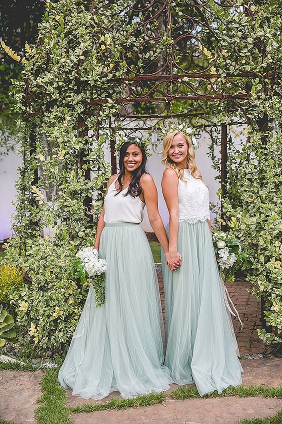 38 Beautiful Spring Bridesmaids' Dresses: a lace or a plain top and a mint tulle maxi skirt