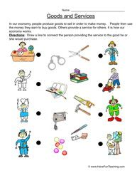Goods and services worksheet.  Free download/printout.  Social studies.  Primary education.  Kindergarten, first, second grade.  K, 1st, 2nd.
