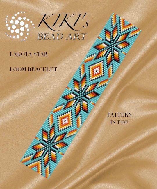 Bead loom pattern - Lakota star - LOOM bracelet PDF pattern instant download de KikisBeadArts en Etsy https://www.etsy.com/es/listing/467808907/bead-loom-pattern-lakota-star-loom                                                                                                                                                                                 Más
