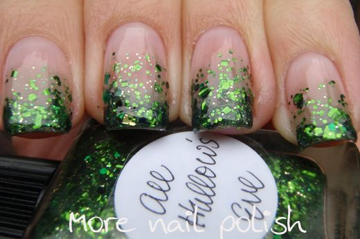 "Glitter gradient over natural nails done with Lynnderella's ""All Hallow's Eve"""