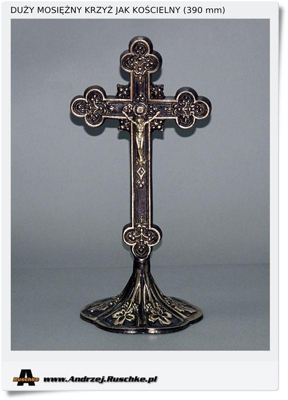 Bardzo duży krzyż mosiężny stojący tak zwany kościelny Polskie rękodzieło Polecam jakość gwarantowana