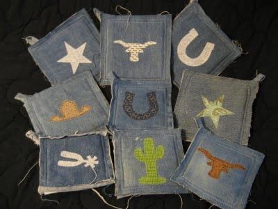 hot pads with jeans, I have a whole box of old jeans waiting to be made into something new!!!
