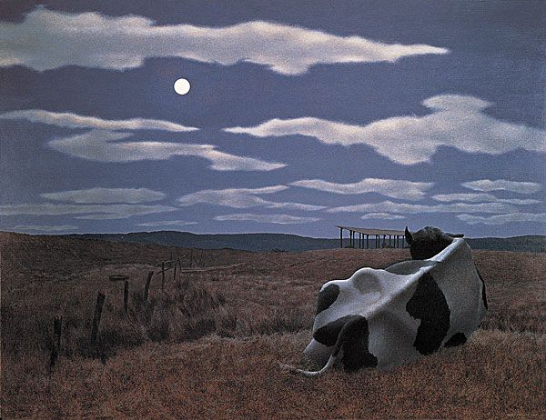 Alex Colville Moon and Cow 1963 Oil and synthetic resin on hardboard 68.5 x 91.4 cm Private collection, USA