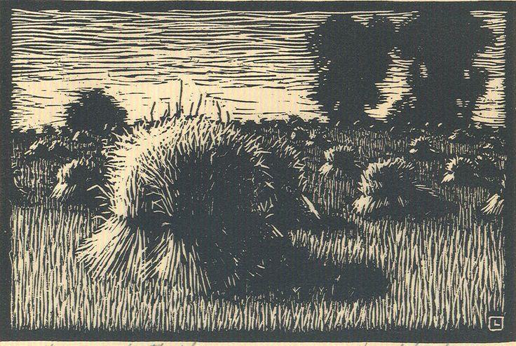 "By Herschel Logan. ""Kansas Wheatfield "" Block print, 1923 4 x 6"