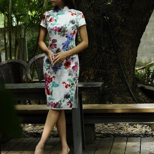 Chinese Ink Flower Tailor Made Qipao