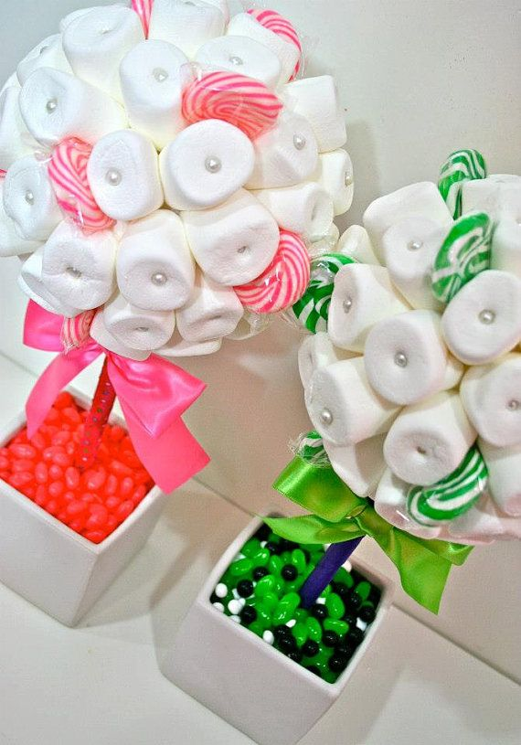 Blanco, verde o rosa malvavisco Lollipop Candy Land pieza central del Topiary Tree, Candy Buffet decoración, boda, Mitzvah,