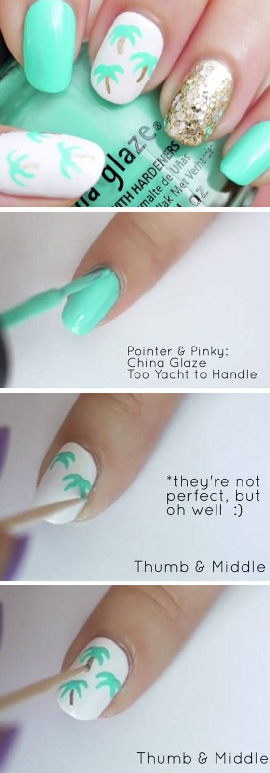 Easy Palm Tree Nail Art | 18 Easy Summer Nails Designs for Summer | Cute Nail Art Ideas for Teens