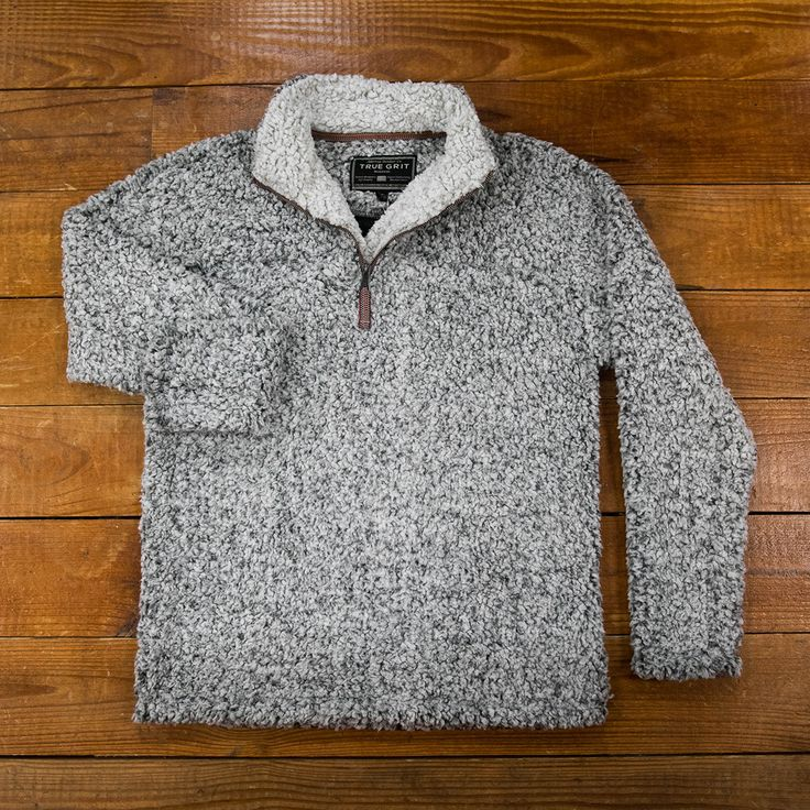 True Grit Frosty Tipped Pile Pullover in Charcoal