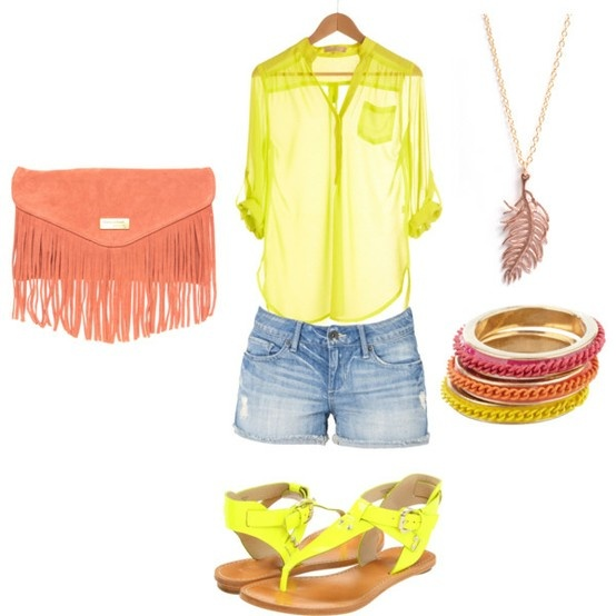 yellow, yellow, yellow! (:: Weekend Styles, Summer Day, Summer Outfit, Dream Closet, Bright Color, Sheer Tops, Summer Color, Bright Bright, Neon Yellow