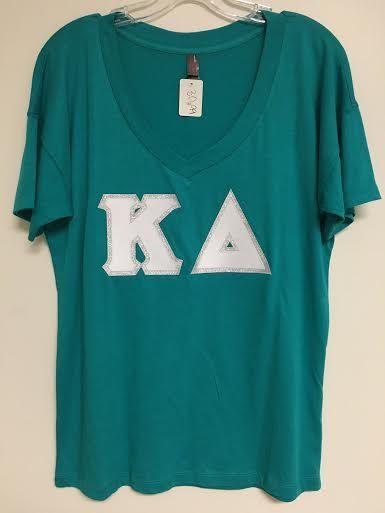 Sorority Stitched Letter Shirt Kappa Delta by ExperTsVA on Etsy
