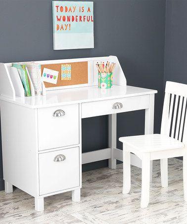 Another great find on #zulily! White Three-Piece Study Desk & Chair Set #zulilyfinds