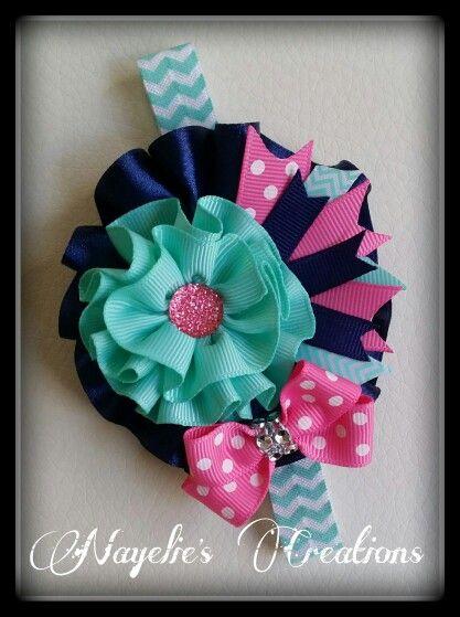 Navy, aqua & pink headband