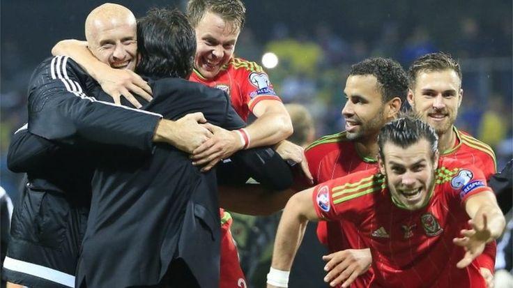 Wales football team celebrate