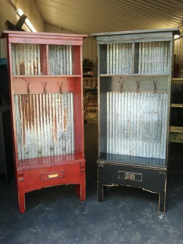 Check out these lockers and the old salvaged galvanized tin backing!