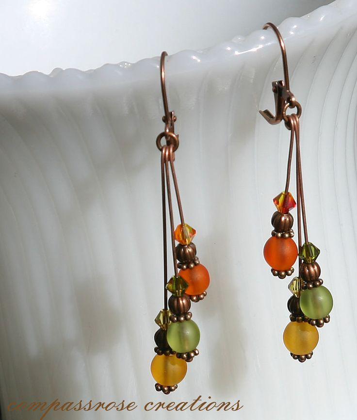 Orange Yellow Green Beach Glass Style Glass Beads Beaded Copper Earrings. $14.00, via Etsy.