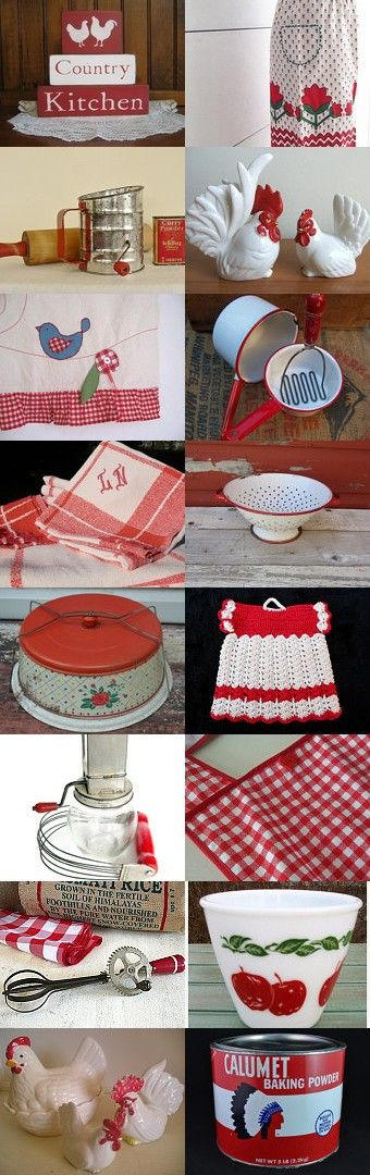 Retro Red Country Kitchen lll by Carla Jean on Etsy--Pinned with TreasuryPin.com