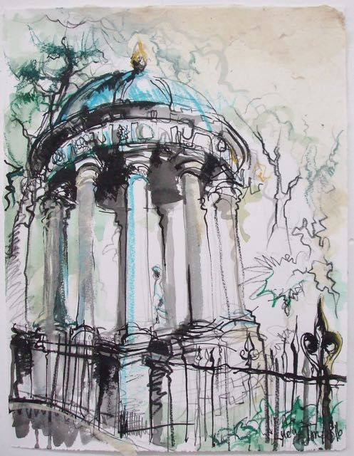 St Bernards Well Ink, Watercolour and Pastel 2016 27 x 36cm Another wee one of my favourite turquoise dome (just two minutes walk from my studio).