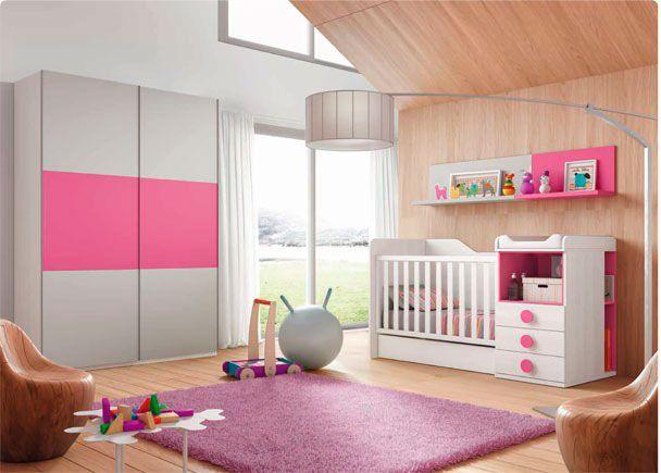 Dormitorio para bebé: DormitorioInfantil con cuna convertible | Dormitorio infantil con cuna convertible nido + Armario de 2 puertas correderas. Color Blanco y Fucs