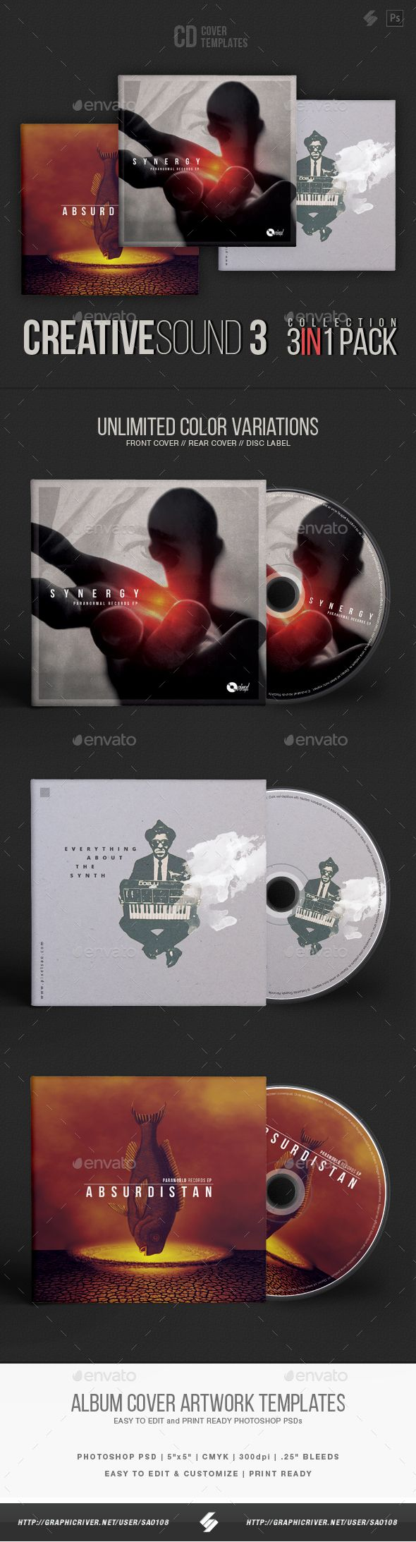 Creative Sound Collection 3  CD Cover Artwork Templates Bundle — Photoshop PSD #drum and bass #alternative • Available here ➝ https://graphicriver.net/item/creative-sound-collection-3-cd-cover-artwork-templates-bundle/20883987?ref=pxcr