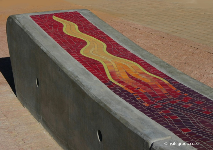 Bench detail at Nasres stadium South Africa, by Insite landscape architects