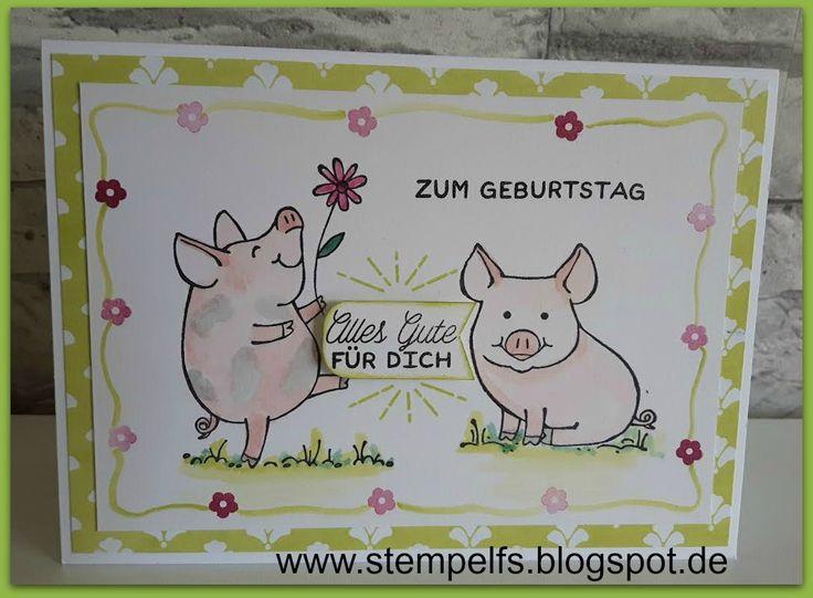 Sind diese Schweinchen nicht niedlich? Das ist ein neues Stempelset, was es ab Juni geben wird. Bei On Stage werden ja immer neue Stempels...