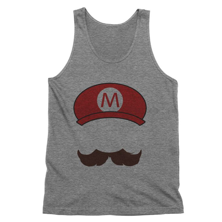 Mario Mustache and Hat Tank Top  #sayings #clothes #tees #womens #quotes #tops #funny #sassy