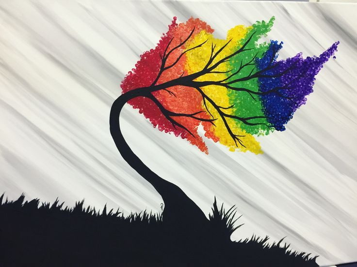 Rainbow tree . Acrylic painting