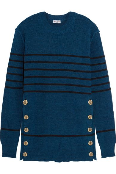 SONIA RYKIEL Embellished striped knitted sweater $690 49% virgin wool, 32%…