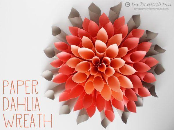 Paper Dahlia Wreath via Love, Pomegranate House