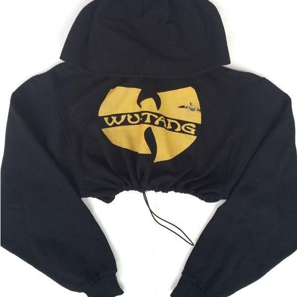 Reworked Wutang Crop Hoody ($32) ❤ liked on Polyvore featuring tops, hoodies, hoodie crop top, cropped hoodies, cropped hoodie, hoodie top and hooded pullover
