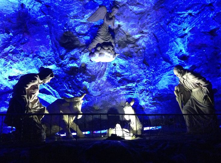 A manger scene made entirely from salt - yup, salt - at the Zipaquira Salt Cathedral.
