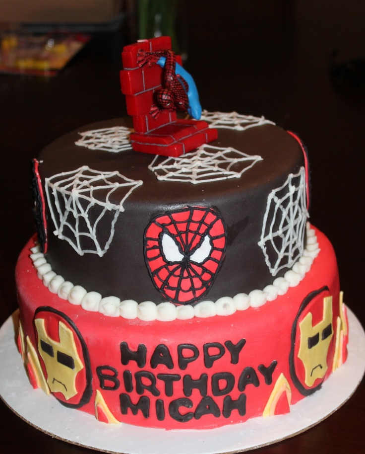 Spiderman-Ironman Combo Cake