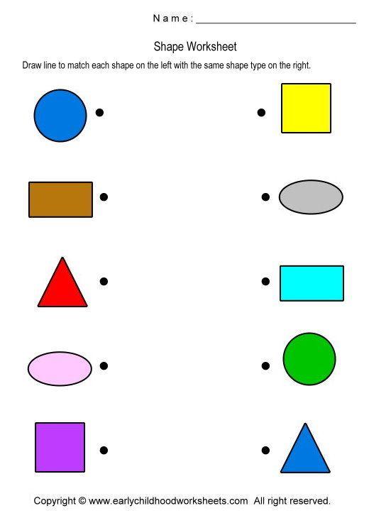 matching shapes worksheet worksheet 1 preschool pinterest. Black Bedroom Furniture Sets. Home Design Ideas